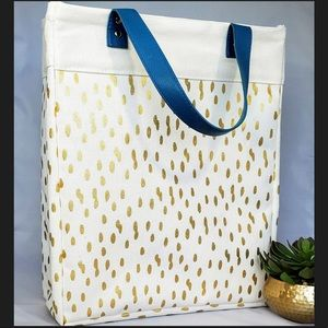 Off white tote with gold spots